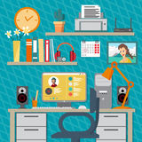 Flat modern design vector illustration concept of home workspace Royalty Free Stock Photos