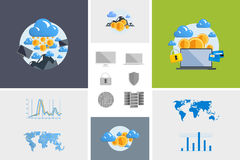 Flat modern design vector illustration and icon. Concept electronic commerce. Bitcoin mining. Cloud technology. Virtual money. Infographic Element. Network Stock Photo