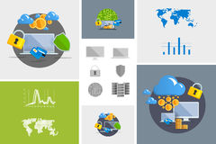 Flat modern design vector illustration and icon. Concept electronic commerce. Bitcoin mining. Cloud technology. Virtual money. Infographic Element. Network Stock Photography