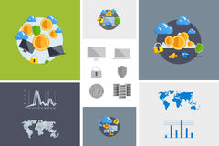 Flat modern design vector illustration and icon. Concept electronic commerce. Bitcoin mining. Cloud technology. Virtual money. Infographic Element. Network Royalty Free Stock Image