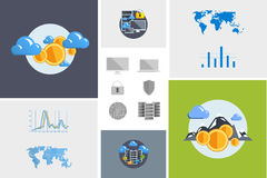 Flat modern design vector illustration and icon. Concept electronic commerce. Bitcoin mining. Cloud technology. Virtual money. Infographic Element. Network Stock Photos