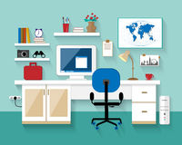 Flat modern design vector illustration of workplace in room. ?reative office room interior. Minimalistic style. Flat design with l Royalty Free Stock Images