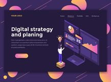 Flat Modern design of website template - Digital Strategy and Pl. Modern flat design isometric concept of Digital Strategy and Planing for website and mobile Royalty Free Stock Photos