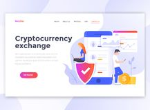 Flat Modern design of wesite template - Cryptocurrency exchange stock illustration