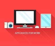 Flat modern home electronics appliances set icons Royalty Free Stock Image