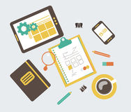 Flat modern illustration, web design development w Stock Photography