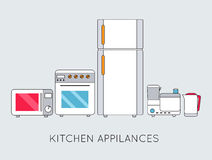 Flat modern kitchen appliances background concept Stock Photos