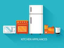 Flat modern kitchen appliances background concept Royalty Free Stock Photography