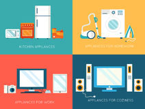 Flat modern kitchen appliances set icons concept. Stock Photography