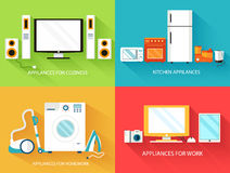 Flat modern kitchen appliances set icons concept. Royalty Free Stock Photos