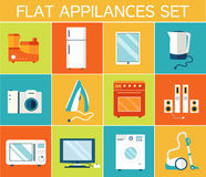 Flat modern kitchen appliances set icons concept. Royalty Free Stock Images