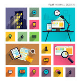 Flat Modern Lifestyle - Business Symbols Stock Photography