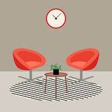 Flat modern living room with orange armchairs, interior design. Elements, vector illustration Royalty Free Stock Photos