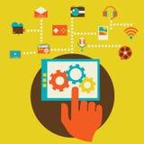 Flat modern mobile communication technology Stock Photography