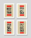 Flat modern sale posters. Best shopping tour. Special discount 50 off sale. Only this week big sale. Flat modern sale posters. Flat modern sale posters. Best Royalty Free Stock Photos