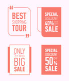 Flat modern sale posters. Vector illustrations for social media banners, posters, sticker, ads, promotional material. Royalty Free Stock Photography