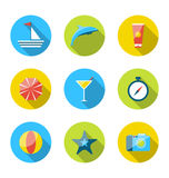 Flat modern set icons of traveling, planning summer vacation Stock Photography