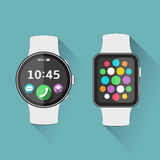 Flat modern smart watch with long shadow Stock Photos
