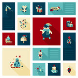 Flat modern style Christmas decoration elements icon set Royalty Free Stock Photo
