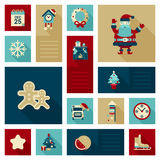 Flat modern style Christmas decorations icon set. Calendar, coo coo clock, Santa Claus, fireplace, tree, gingerbread man, fireworks rocket, school bus in hat Stock Photos