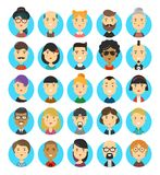 25 flat modern style hipster people. Characters avatars icons set. Many modern city hipsters people vector cartoon illustration icon design. Isolated on white Royalty Free Stock Image
