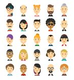 25 flat modern style hipster people. Characters avatars icons set. Many modern city hipsters people vector cartoon illustration icon design. Isolated on white Stock Images