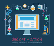 Flat modern style SEO optimization magic chemistry process Royalty Free Stock Photos