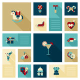 Flat modern style winter holidays web icon set decoration Royalty Free Stock Photos