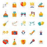 Flat modern trendy Isolated icons set gift, party Stock Photography