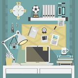 Flat, modern, and trendy teal working place. With some accessories Royalty Free Stock Image