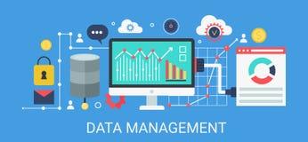 Flat modern vector concept Data management banner with icons and text. Flat modern vector concept Data management banner with icons and text Stock Images