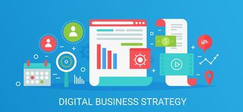 Flat modern vector concept digital business strategy banner with icons and text. royalty free illustration