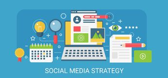 Flat modern vector concept Social media strategy banner with icons and text. Flat modern vector concept Social media strategy banner with icons and text Royalty Free Stock Photo