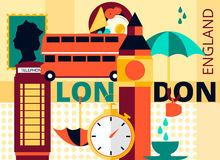 Flat modern vector London card, the capital of Great Britain with Big Ben, double decker and telephone Stock Photography