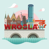 Flat modern vector of Wroclaw Royalty Free Stock Image