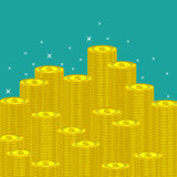 Flat money making background with coins. Royalty Free Stock Images