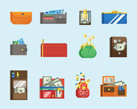 Flat money wallet icon check list making purchase cash business currency finance payment and purse savings bank commerce. Flat money wallet icon making purchase Royalty Free Stock Photo