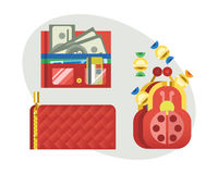 Flat money wallet icon check list making purchase cash business currency finance payment and purse savings bank commerce Royalty Free Stock Image