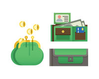 Flat money wallet icon check list making purchase cash business currency finance payment and purse savings bank commerce Stock Image