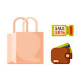 Flat money wallet icon paper bag sale making purchase cash business currency finance payment and purse savings bank Stock Photo