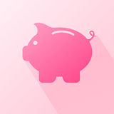 Flat moneybox. Paper moneybox in the form of pig on pink background, illustration Royalty Free Stock Photography