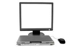 Flat monitor close laptop and mouse Royalty Free Stock Image
