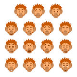 Flat monkey face expressions Royalty Free Stock Images