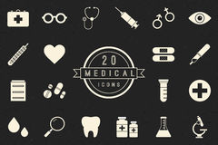 Flat Monochrome Medical Icons Collection. Flat monochrome medical icon set in vintage style. Isolated medical icon set of medicine tools and services. Black and Stock Image
