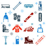 Flat Monochrome Skiing Icons With Snowflakes Stock Images