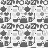 Flat monochrome tea icons seamless pattern. Illustration of grey flat monochrome tea icons Stock Images