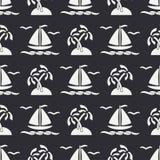 Flat line monochrome vector seamless pattern ocean boat, sail, palm, island. Cartoon retro style. Regatta. Seagull Royalty Free Stock Images