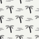 Flat monochrome vector seamless summer pattern. Stock Photo