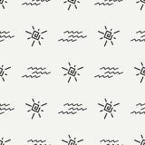 Flat monochrome vector seamless summer sun pattern.  Royalty Free Stock Images