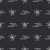 Flat monochrome vector seamless summer sun pattern. Fabric textile summer pattern. Cute doodle summer pattern with sun Royalty Free Stock Photography